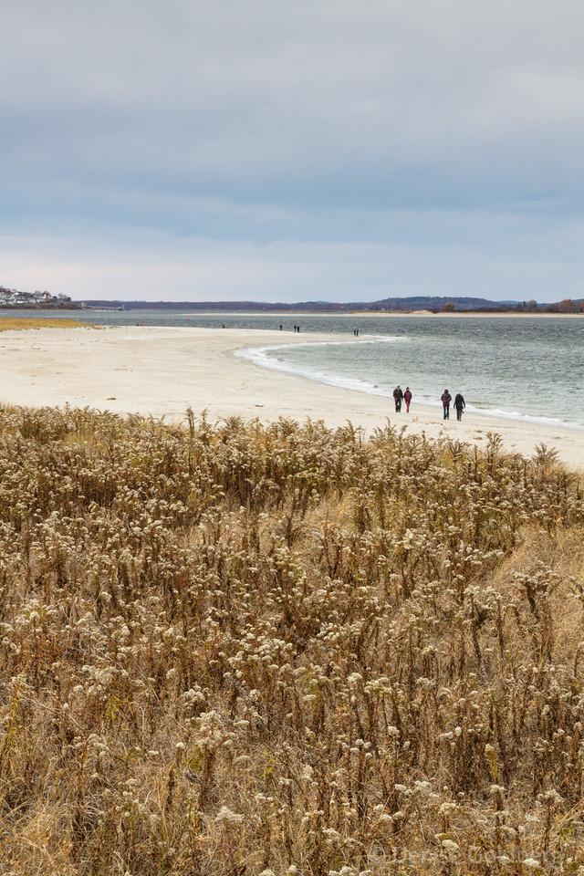 walking on Crane Beach, looking across the water at Plum Island