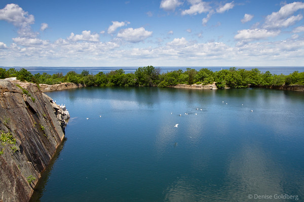 two bodies of water, quarry and ocean
