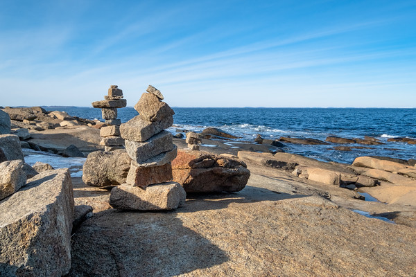 stacked stones at Halibut Point State Park