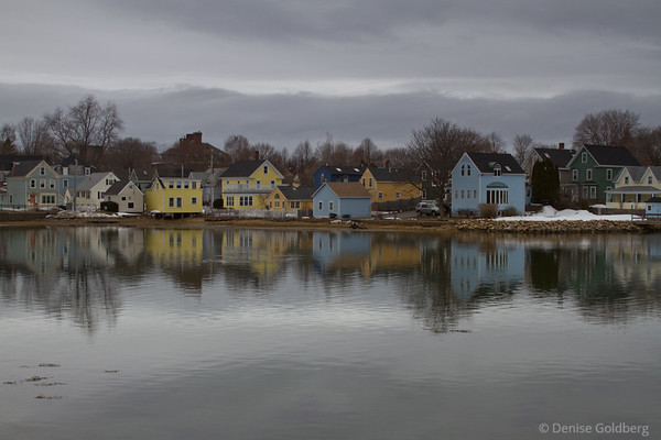 houses, colorful reflections