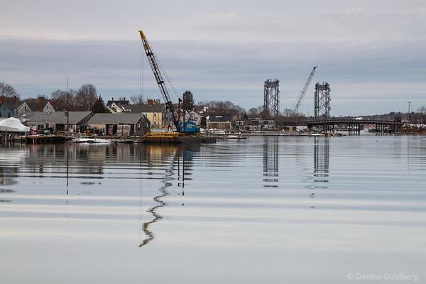 bridges, houses, cranes, Portsmouth NH