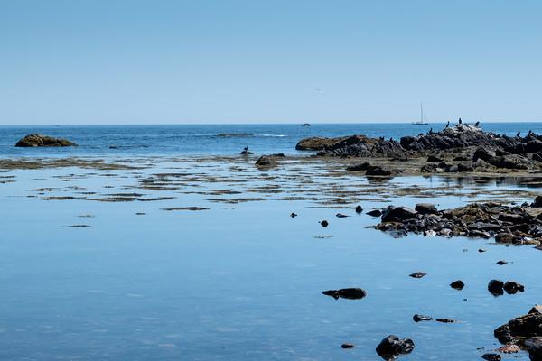 blue sky and a calm ocean, New Hampshire coast