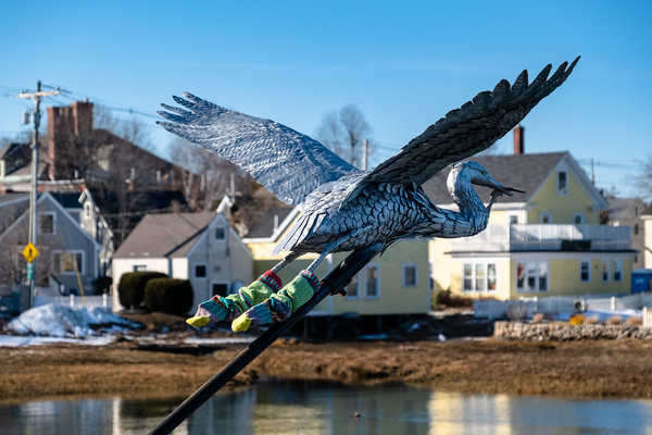 sculpture of great blue heron, Portsmouth, NH
