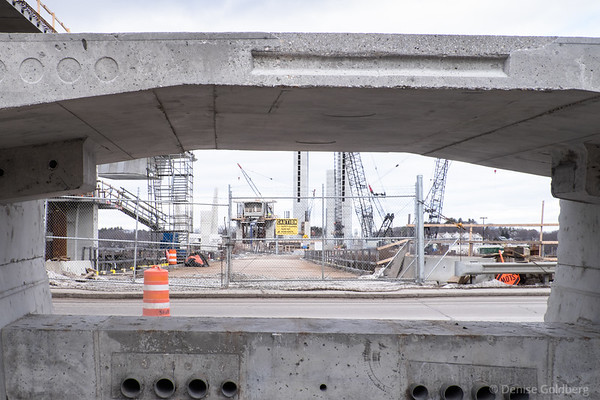 looking through a new bridge section as it sits on the ground