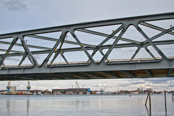 new, clean, in the process of reconstruction Memorial Bridge, Portsmouth to Kittery