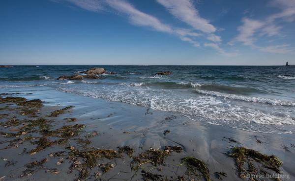 ocean, waves, painted sky