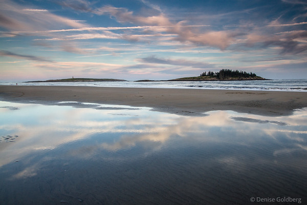 late day light makes wonderful reflections, Popham Beach