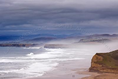 San Gregorio beach on a cloudy day