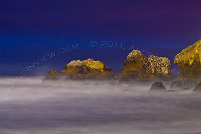 Mori Point rocks at night
