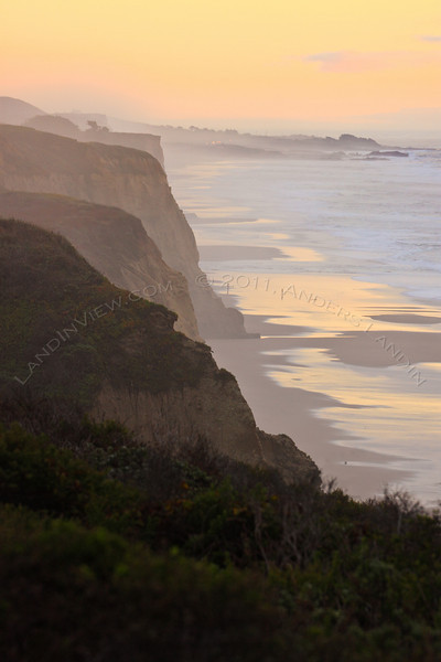 Coastal bluffs with Bean Hollow state beach in the background