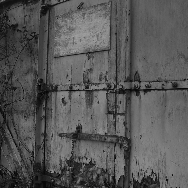Abandoned train black and white