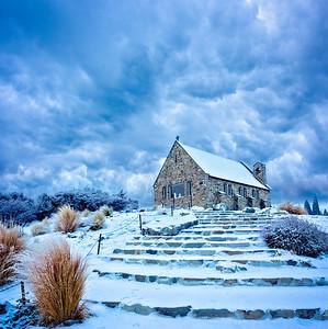 Stormy Church of the Good Shepherd, Lake Tekapo