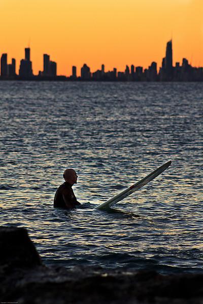 Sunset Surfing, Gold Coast, Australia