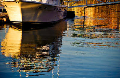 boat at the marina, sunset on the water
