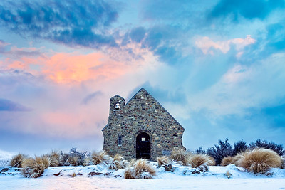 Snow at Church of the Good Shepherd, Lake Tekapo