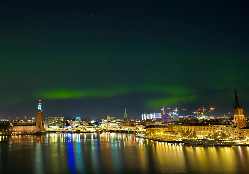 Nordic light (aurora) over Stockholm city hall