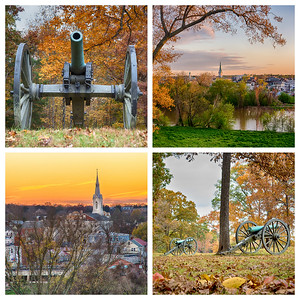 The spires and battlefields of Fredericksburg in fall