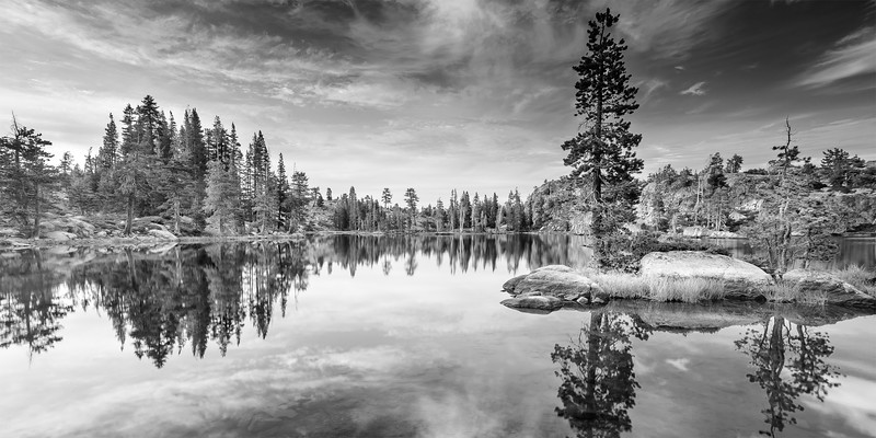 Black and white perfect lake reflection