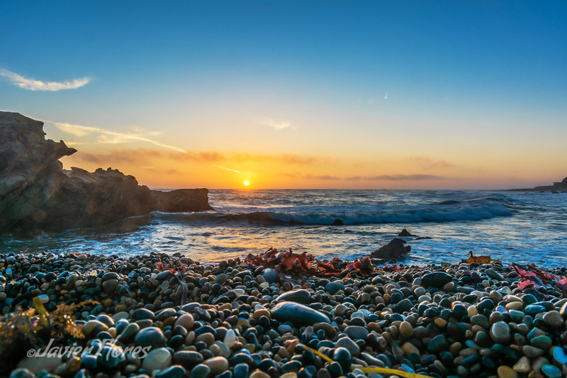 Pebble Beach at Bean Hollow State Beach at sunset