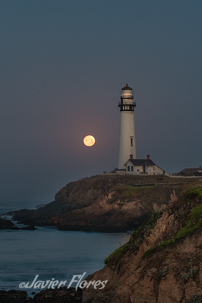 Moon Setting, Pigeon Point Lighthouse