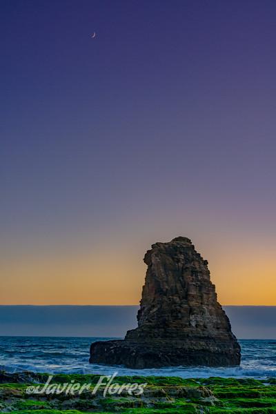 Davenport Beach sunset  with shark fin rcok