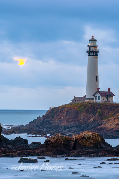 Moon Setting at Pigeon Point Lighthouse