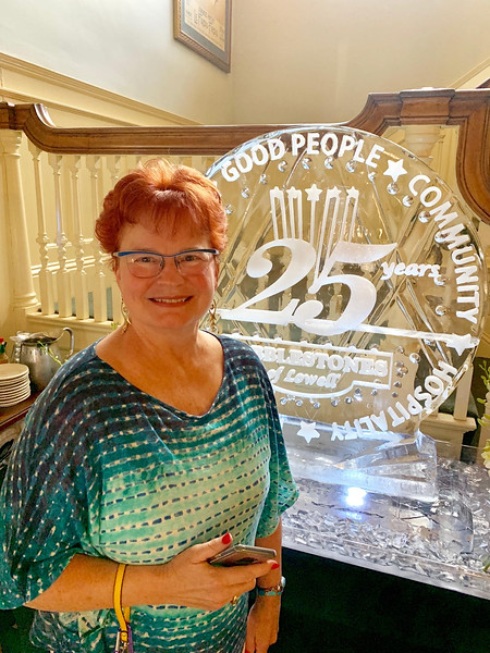 Rae-Ann Partridge of Tyngsboro admires the ice sculpture.