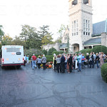 Guests awaited a bus tour of Cave Hill cemetery.