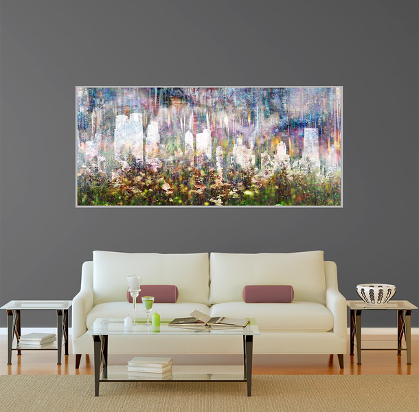 """Silver Lining in 70""""x35"""" Silver Aluminum Artbox Frame with Matte Acrylic Glass"""