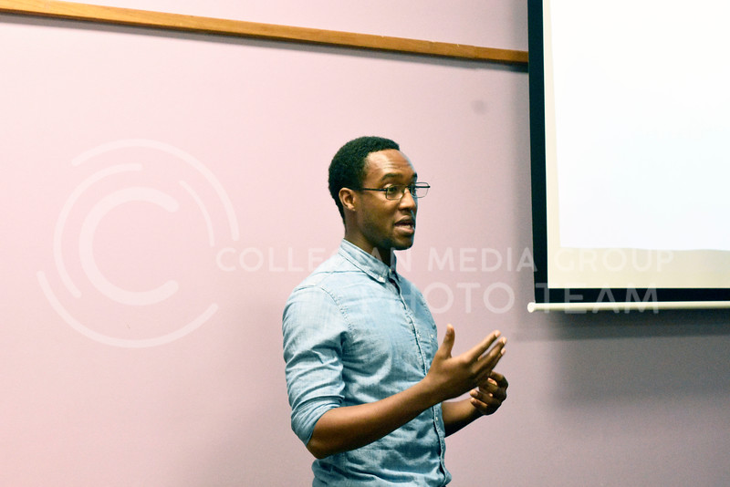 Jehu Mette is talking about his country Cote D'lvoire (Ivory Cost), in coffee hour in the International Student Center on Friday Februrey 23, 2018. Photo by Hasan Albasri