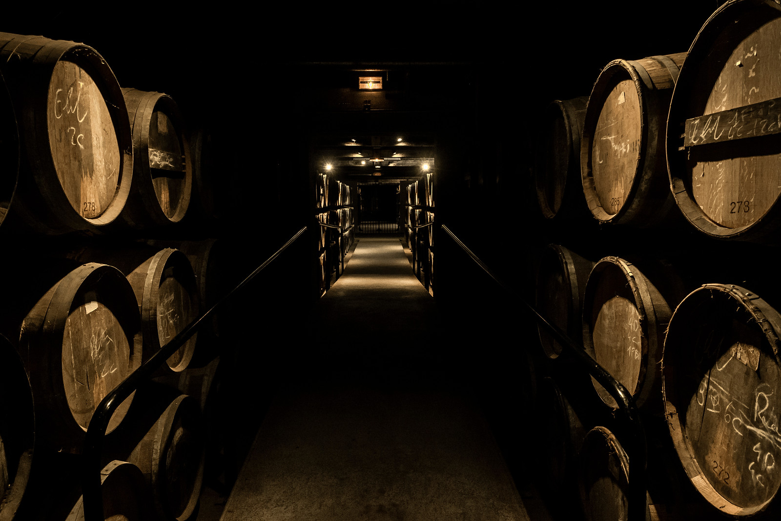 Cognac barrels stocked up in the dark cognac's ageing cellar in Cognac town, France