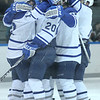 Colby College celebrates after Mike Doherty's goal in an NCAA Division III college hockey game against Hamilton College at Alfond Rink at Alfond Arena, Friday Jan. 6, 2012 in Waterville, ME.  (Dustin Satloff/Colby College Athletics)