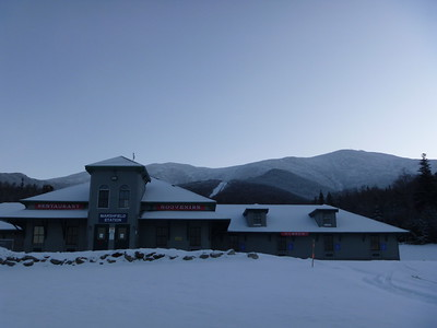 7:30AM Cog Railway Base Station w/ Mt. Washington Behind