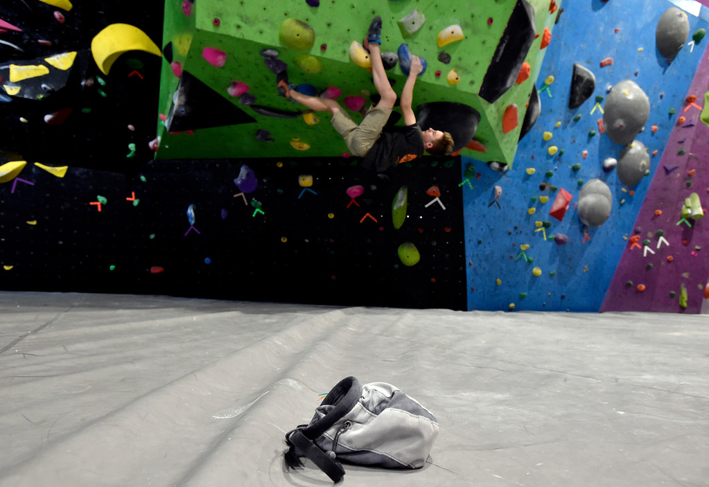 . BOULDER, CO - FEBRUARY 4, 2019: Colin Duffy, 15, practices climbing on Monday at ABC Kids Climbing in Boulder. For more photos of Duffy practicing go to dailycamera.com (Photo by Jeremy Papasso/Staff Photographer)