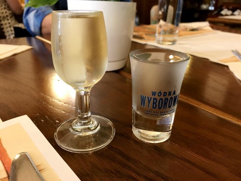 glass of vodka on vodka tour in Krakow, Poland