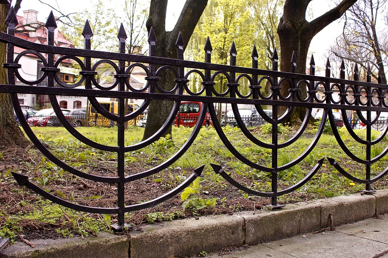 fence in Kazimierz, the former Jewish district of Krakow, Poland