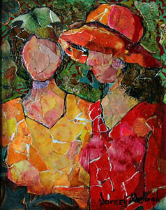 SISTERS (HOMAGE TO MUELLER) - 10X8/COLLAGE ON BOARD - KB