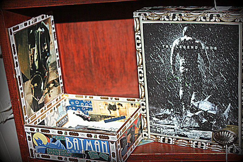 Samples of the many sides of Batman -Boxes Legend Ends =SOLD=  Each one unique! One featured Penguin  One with Michelle Pfeiffer as Catwoman...