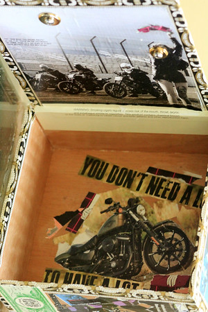 Motorcycles box inside  (top inside lid sepia with red flag)