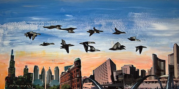 08 - Flying away, 2014, mixed media on archival illustration board, 24x47cm
