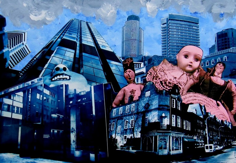 08 - Dolls in the city, 2011,   collage with hand coloured montaged silver gelatin prints, 35x45cms