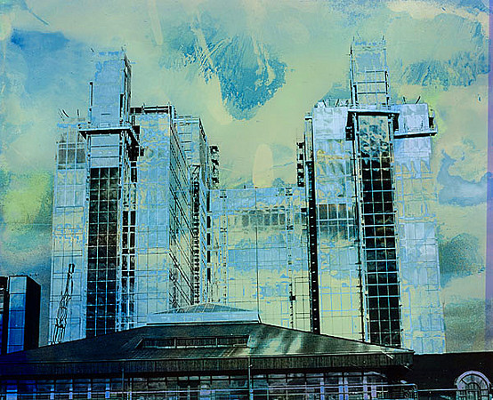 16 - 'Storm in Docklands', 1989, hand colored silver gelatin print, 24x20cm