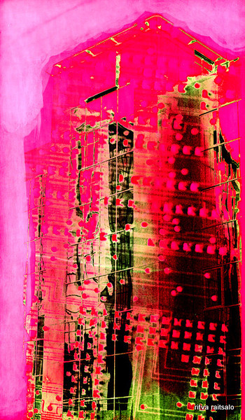 05 -'Cyber tower', 1993, hand colored montaged silver gelatin print, 15x25cm