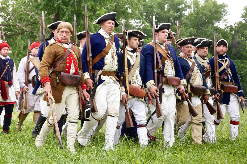 Revolutionary War Living History: Evening Colors. Spirit of Vincennes Rendezvous, George Rogers Clark National Historic Park, Vincennes, Knox County, IN