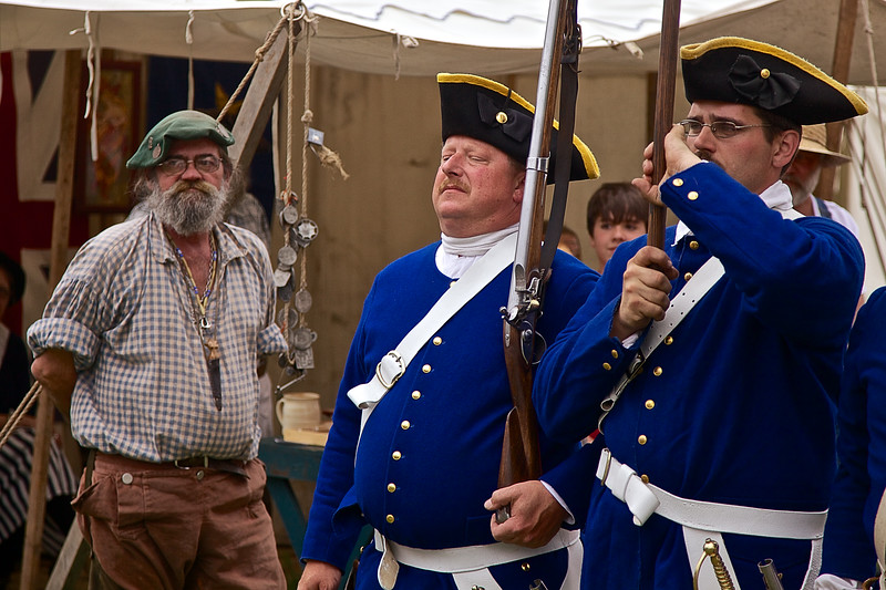 Revolutionary War Reenactments: Drill Exercises, Spirit of Vincennes Rendezvous, George Rogers Clark National Historic Park, Vincennes, Knox County, IN