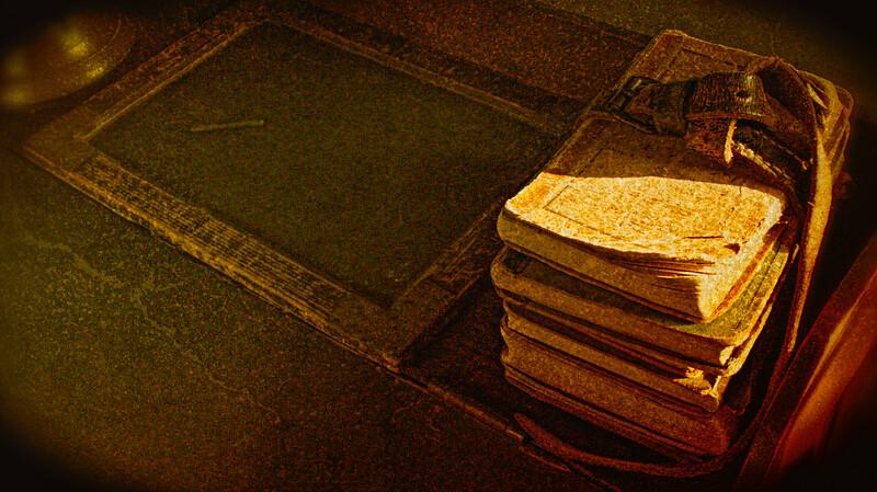 School Books with Belt, Schoolhouse, Old Bethpage Village Restoration, Old Bethpage, Long Island, Nassau County, New York