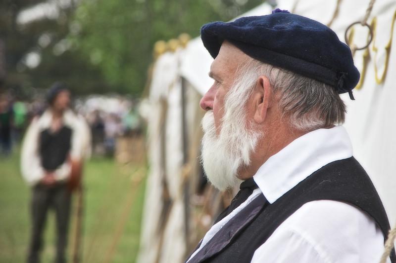 Revolutionary War Reenactments: Costumed Reenactor, Spirit of Vincennes Rendezvous, George Rogers Clark National Historic Park, Vincennes, Knox County, IN