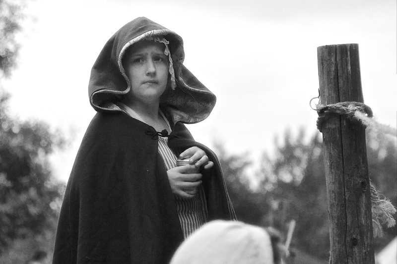 Revolutionary War Reenactments: Female Child in Costume. Spirit of Vincennes Rendezvous, George Rogers Clark National Historic Park, Vincennes, Knox County, IN