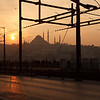 Sunset behind Suleymaniye Mosque, Galata Bridge, Istanbul, Turkey