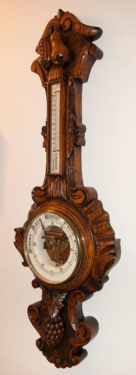 Carved Oak Aneroid Barometer